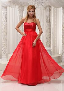 Best Red Chiffon Prom Gowns Sequins Sweetheart with Zipper up Back