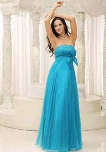 Custom Made Beaded Strapless Prom Dress Pleat with Bow Floor-length