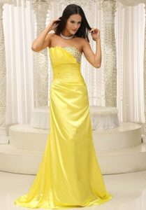 Brand New Style Ruched and Beaded Prom Gowns Dresses Brush Train