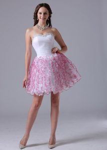 Cute Mini-length Prom Evening Dresses Beading and Ruffles Side Zipper