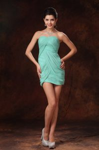 Pleated Turquoise Mini-length Sweetheart Prom Gowns for Sale