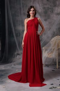 Modern Wine Red One Shoulder Prom Dress Brush Train Chiffon