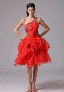 Custom Made Red One Shoulder Beaded Prom Cocktail Dress Organza