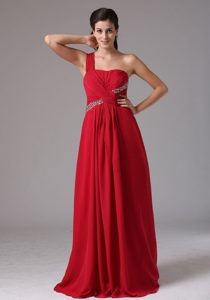 Stylish Red One Shoulder Beading and Ruch 2014 Prom Dress
