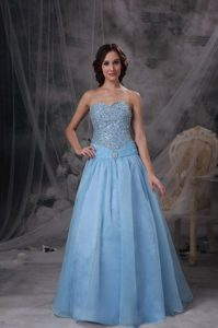 Impression Baby Blue A-line Sweetheart Prom Dress Oraganza Beading