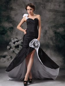 Special Black Floral Shoulder High Slit Prom Evening Dress Ruched