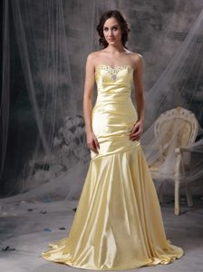 Perfect Light Yellow Mermaid Sweetheart Prom Evening Dress Taffeta