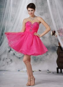 Hot Pink Sweetheart Mini-length Organza Beading Prom Dress 2013