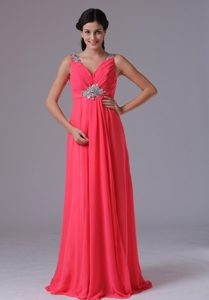 Coral Red V-neck Beading and Ruch Prom Dress on Promotion