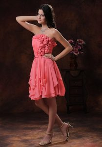 2013 Watermelon Flowers Decorated Chiffon Short Prom Dress