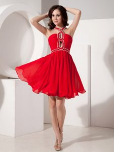 The Super Hot Red Prom Dress with Keyhole Opening Mini-length