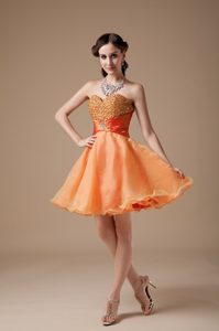 Cheap Orange Red A-line Sweetheart Prom Dress Mini-length