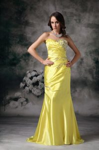 Exquisite Yellow Sweetheart Prom Evening Dress 2013 Beaded