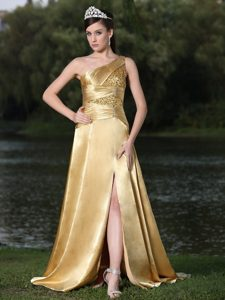 High Slit Gold Plus Size Party Dress One Shoulder Beaded