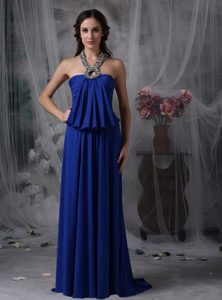 Classical Halter Beaded Royal Blue Prom Dress Draped 2013
