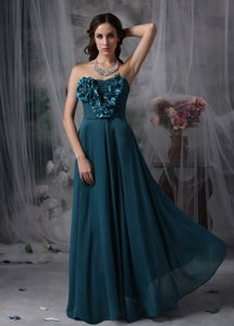 Pretty Peacock Green Prom Dress Chiffon Hand Made Flowers