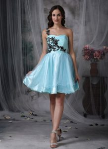 Appiqued Shoulder Aqua Blue Short Prom Dress 2013 Cheap