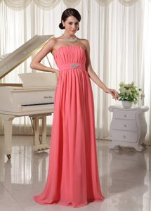Watermelon Red Chiffon Beaded Ruched Long Prom Dress