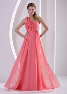 Pretty Empire One Shoulder Flowers Long Watermelon Prom Dress