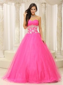 A-line Sweetheart Hot Pink Prom Celebrity Dress with Appliques