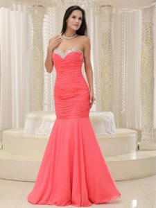 Mermaid Sweetheart Beaded Ruched Prom Dress in Coral Red