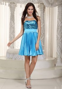 Sequined Bodice Mini Blue Prom Theme Dress with Pleated Skirt