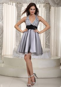 White and Black Halter Prom Theme Dresses with Sash and Sequins