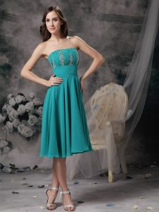 Turquoise Knee Length Prom Theme Dresses with Beading and Ruches