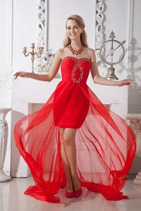 Modest Red Ruched Chffion High-low Prom Homecoming Dress