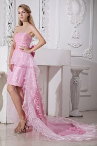 Baby Pink High-low Ruffled Prom Holiday Dress with Bowknot 2014
