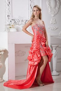 Taffeta Beaded Prom Dress in Watermelon Red with Flowers