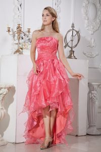 2014 Watermelon Red Asymmetrical High-low Prom Dress Ruffled