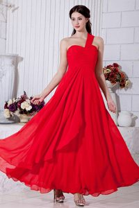Ruched Red One Shoulder Prom Theme Dresses of Ankle Length 2014