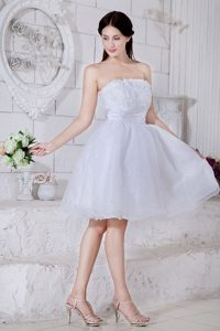 White Organza Prom Theme Dresses with Appliques in Livermore CA