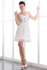 Beaded White A-line Prom Theme Dress with Spaghetti Straps 2014