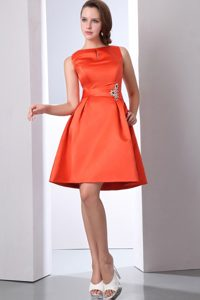 Orange Red Bateau Mini Length Prom Theme Dresses with Beading