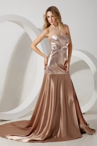 Gorgeous with Sequince 2013 Champagne Prom Dress with Train