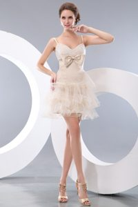 Cute Spaghetti Straps Short Prom Cocktail Dres with Bowknot
