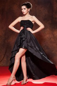 Black High-low with Sequince Homecoming Prom Dress Cheap