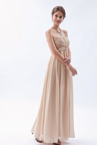 Discount 2014 Ruched Champagne Prom Dress on Sale