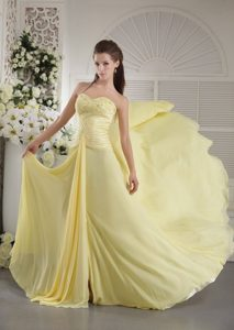 Unique Yellow Sweetheart Beaded 2013 Prom Dress for Cheap