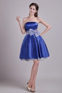 Bowknot Accent On Waist Prom Cocktail Dress in Royal Blue 2014