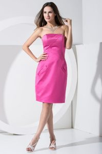 Simple Cheap Prom Dress 2013 in Fuchsia with Pockets