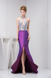 Silver and Eggplant Purple Prom Graduation Dress with Cutout