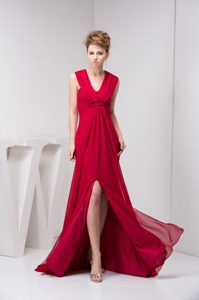 Wine Red Prom Evening Dress with V-neck Straps and Brush Train