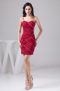 Spaghetti Straps Beaded and Ruched Prom Cocktail Dress in Wine Red