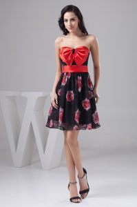 Chiffon Printed Fabric Prom Dress with Bowknot and Sash