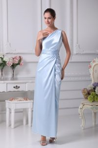 Light Blue Prom Dresses with Single Strap and Ruched Sash