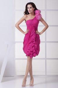 One Shoulder chiffon Prom Gown with Ruffles in Fuchsia for 2013