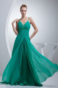 Beaded and Ruched Turquoise Prom Cocktail Dress with Spaghetti Straps